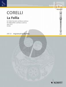 Corelli La Follia (from Sonata Op.5 No.12) Treble Recorder-Piano (Linde)