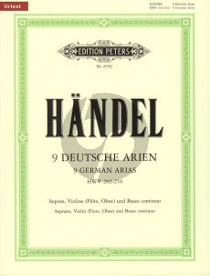 Handel 9 deutsche Arien HWV 202 - 210 Sopran-Violine [Flöte/Oboe]-Bc (Part./Stimmen) (Jürgen Blume)