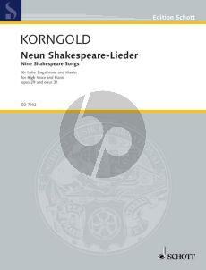 Korngold 9 Shakespeare Lieder Op.29 & Op.31 (Med.-High)