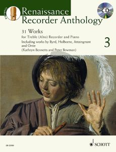 Renaissance Recorder Anthology Vol.3 31 Works for Treble (Alto) Recorder and Piano (Bk-Cd)