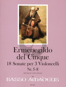 del Cinque 18 Sonate Band 2 No. 5 - 8 3 Violoncellos (Part./Stimmen) (Erik Harms)