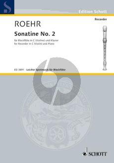 Roehr Sonatine No.2 F-major Descant Recorder (Violin)-Piano (Grade 2)