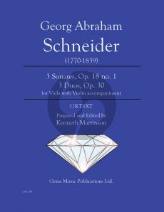 Schneider 3 Sonates Op. 18 no. 1 and 3 Duos Op. 30 for Viola - Violin (Prepared and Edited by Kenneth Martinson) (Urtext)