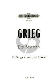 Grieg Ein Schwan (A Swan / Le Cygne) Op.25 No.2 (1876) Tiefe Stimme (Es dur) und Klavier