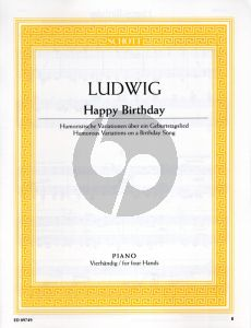 Happy Birthday piano 4 hands (Humorous Variations on a Birthday Song)