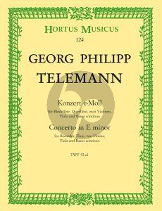 Telemann Konzert e-moll TWV 52:e1 Altblockflöte-Querflöte-2 Violinen-Viola-Bc (Partitur) (Herbert Kölbel)