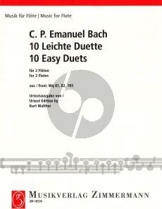 Bach C.Ph.E. 10 Leichte Duette WQ 81 - 82 - 193 2 Flöten