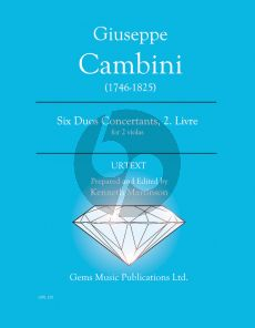 Cambini 6 Duos Concertants Volume 2 for 2 Viola (Prepared and Edited by Kenneth Martinson) (Urtext)