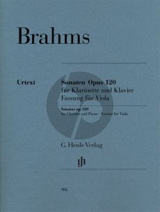 Brahms 2 Sonaten Op.120 Viola and Piano (edited by Egon Voss and Johannes Behr - Fingerings and Bowing Tabea Zimmermann) (Henle-Urtext)