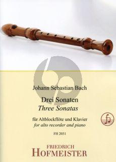 Bach 3 Sonaten (edited by Greta Richert) Altblfl.-Klavier