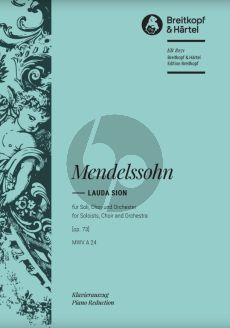 Mendelssohn Lauda Sion MWV A24 Op.73 Soli-Choir-Orchester Klavierauszug (Vocal Score) (edited by Julius Rietz) (Breitkopf)