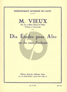 Vieux 10 Etudes sur des traits d'Orchestre Alto