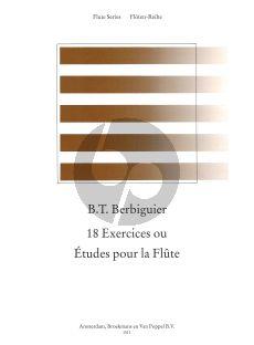 Berbiguier 18 Studies for Flute (edited by Rien de Reede) (Grade 3)