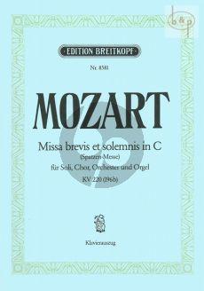 Missa Brevis C-dur KV 220 (Spatzen-Messe) (Soli-Mixed Choir-Orch.)
