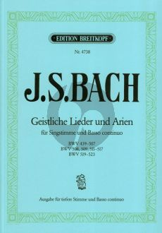 Bach Geistliche Lieder & Arien (BWV 439 - 507 , 508 , 509 , 511 - 517 und 519 - 523) Tiefere Stimme (Friedrich Martin)