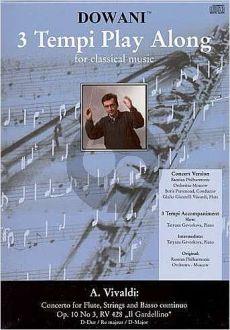 "Vivaldi Concerto D-major RV 428 (Op.10 No.3) ""Il Gardelino"" Flute-Strings-Bc (Flute solo part with CD) (Dowani)"